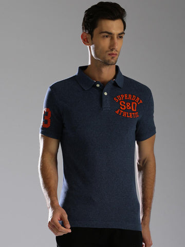 Superdry Men Navy Blue Solid Polo Collar T-shirt