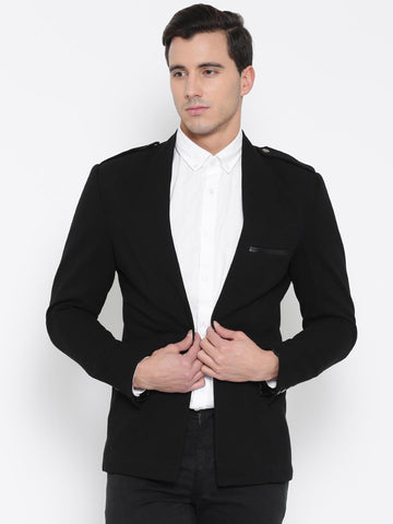 MR BUTTON Black Slim Structured Fit Open Front Casual Blazer
