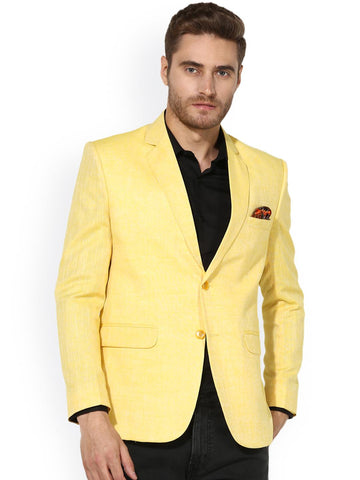 Hangup Men Yellow Solid Single-Breasted Linen Casual Blazer