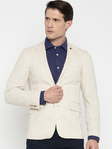Jack & Jones Men Beige Single-Breasted Casual Blazer