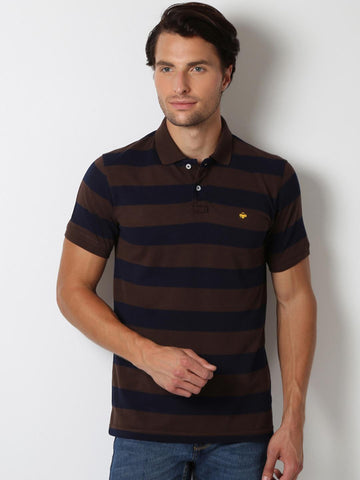 Peter England Men Blue & Brown Striped Polo Collar Slim Fit T-shirt