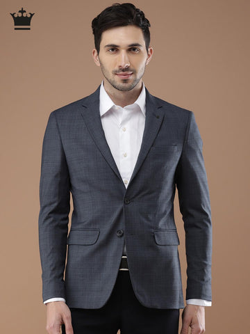 Louis Philippe Blue Solid Milano Slim Fit Single-Breasted Casual Blazer