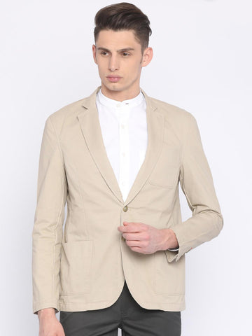 Parx Men Beige Solid Single-Breasted Slim-Fit Casual Blazer