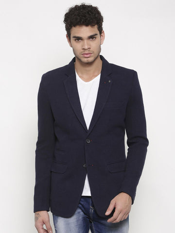 Status Quo Men Navy Slim Fit Single-Breasted Casual Blazer