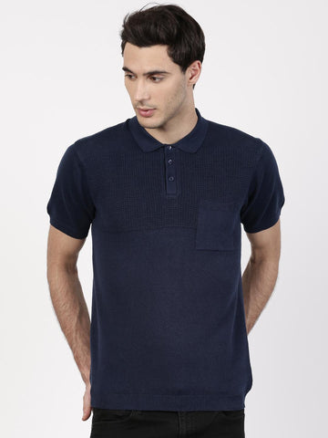 ether Men Navy Cotton Linen Polo T-shirt