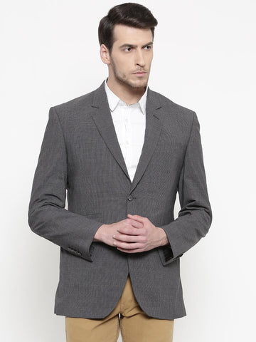 ColorPlus Charcoal Grey Checked Custom Tailored Fit Casual Blazer