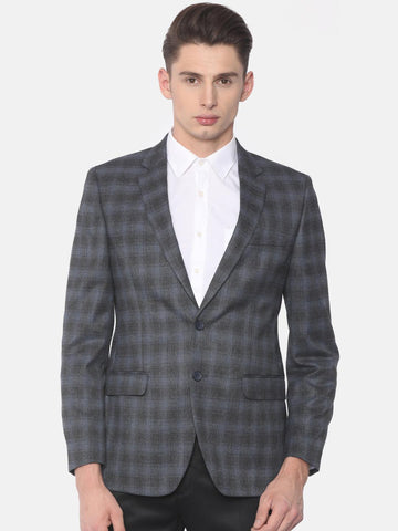 Raymond Blue Contemporary Fit Single Breasted Checked Casual Blazer