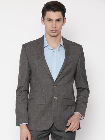 Park Avenue Brown Checked Slim Fit Single-Breasted Formal Blazer