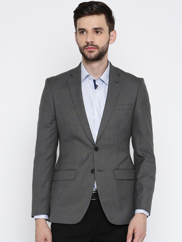 Raymond Charcoal Grey Solid Tailored Contemporary Fit Single-Breasted Blazer