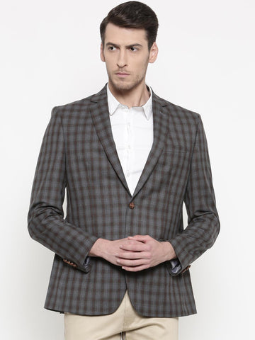 Park Avenue Grey & Brown Checked  Slim Fit Single-Breasted Smart Casual Blazer