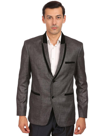 Wintage Men Charcoal Grey Single-Breasted Tailored Fit Formal Blazer