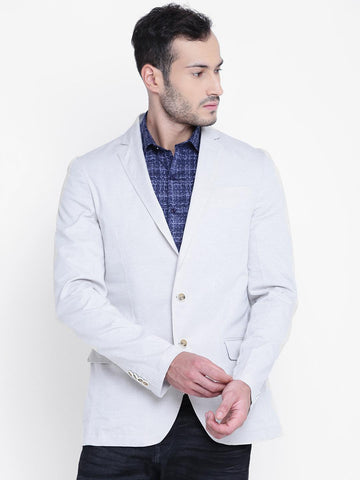 ColorPlus Men Grey Self-Design Single-Breasted Tailored Fit Formal Blazer