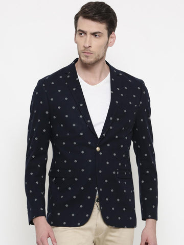 The Indian Garage Co Navy Printed Slim Fit Casual Blazer