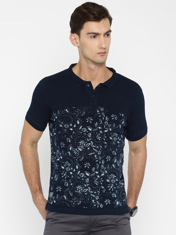 Pepe Jeans Men Navy Blue Printed Polo Collar T-shirt
