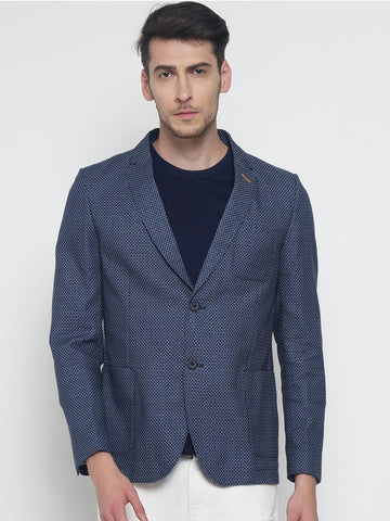 The Indian Garage Co Blue Self-Design Slim Fit Single-Breasted Casual Blazer