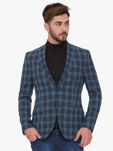 SUITLTD Blue Single-Breasted Checked Slim Fit Casual Blazer