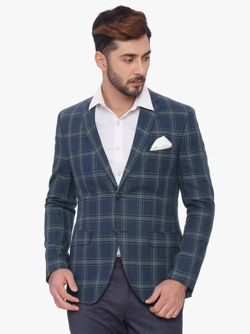 SUITLTD Blue Checked Slim Fit Single-Breasted Blazer