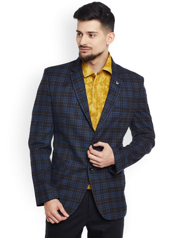 Canary London Black & Blue Checked Slim Fit Single-Breasted Woollen Blazer