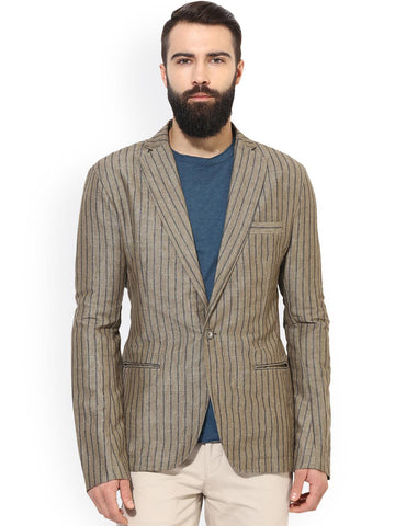 Leo Sansini Olive & Grey Striped Single-Breasted Linen Smart Casual Blazer