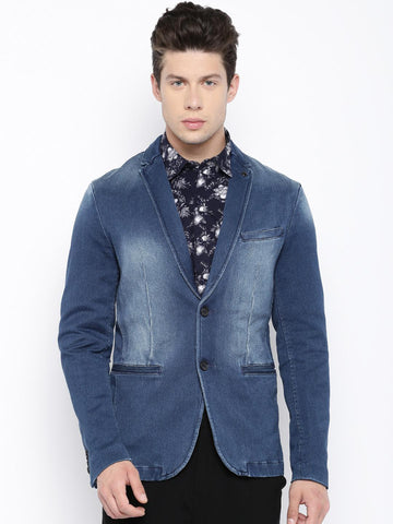 Jack & Jones Men Blue Washed Single-Breasted Denim Casual Blazer