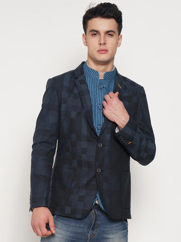 The Indian Garage Co Blue Checked Slim Fit Single-Breasted Casual Blazer