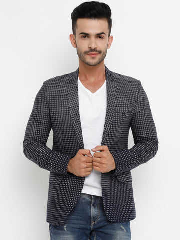 SHOWOFF Men Navy Blue & Grey Checked Single-Breasted Casual Blazer