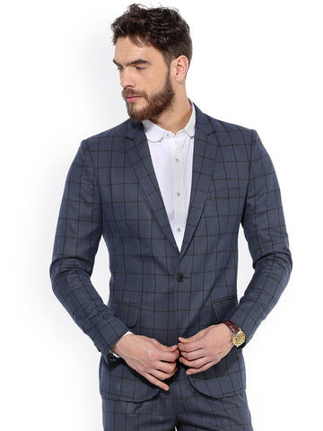 MR BUTTON Blue Checked Single Breasted Blazer Slim Fit with black window panel