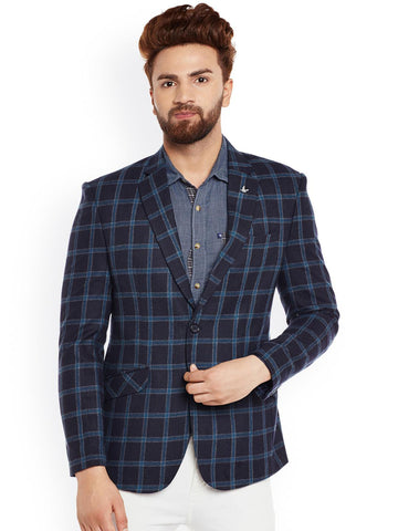 Canary London Navy Checked Woollen Slim Fit Single-Breasted Blazer