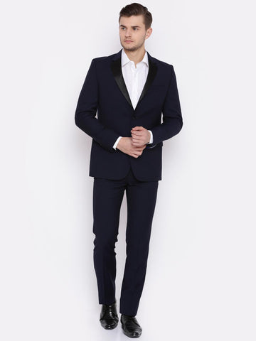 Raymond Men Navy Blue Slim Contemporary Fit Single-Breasted Party Suit
