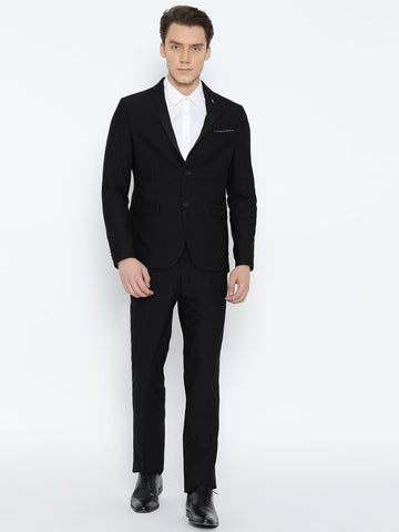 Arrow Men Black Slim Zero Calorie Fit Single-Breasted Self-Design Party Suit