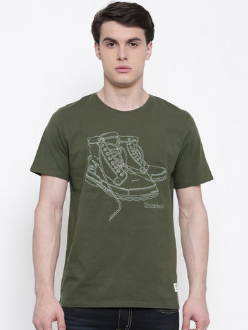 Timberland Men Olive Green Solid T-shirt