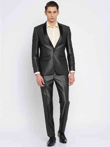 Park Avenue Men Charcoal Grey Single-Breasted Super Slim Fit Party Suit