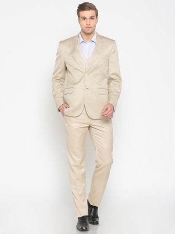 Van Heusen Beige Slim Fit Single-Breasted Formal Suit