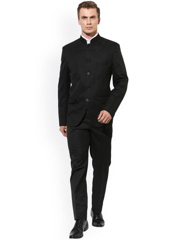 Hangup Mens Black Single-Breasted Slim Fit Ethnic Bandhgala Suit