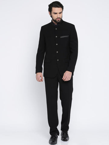 Raymond Black Button Placket Contemporary Fit Ethnic Bandhgala Suit