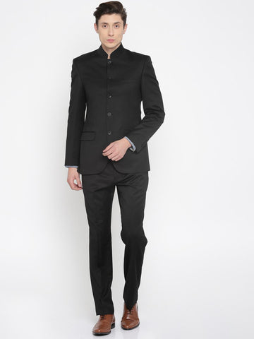 Raymond Black Single-Breasted Slim Contemporary Fit Ethnic Bandhgala Suit