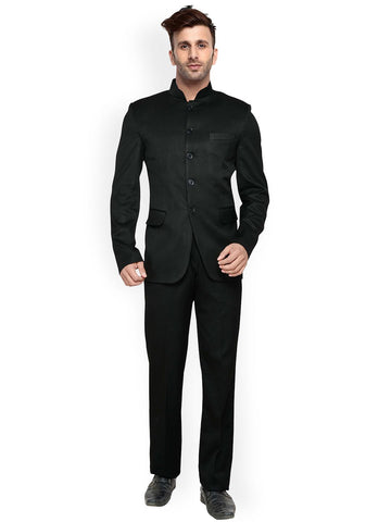 Hangup Black Single-Breasted Slim Fit Ethnic Bandhgala Suit