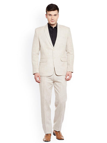 Wintage Men Beige Linen Single-Breasted Regular Fit Formal Suit
