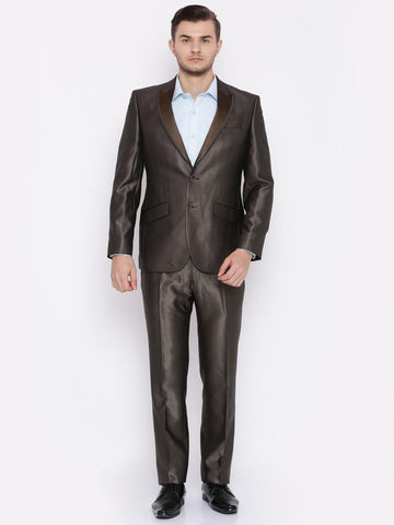 Raymond Men Brown Single-Breasted Slim Contemporary Fit Party Suit