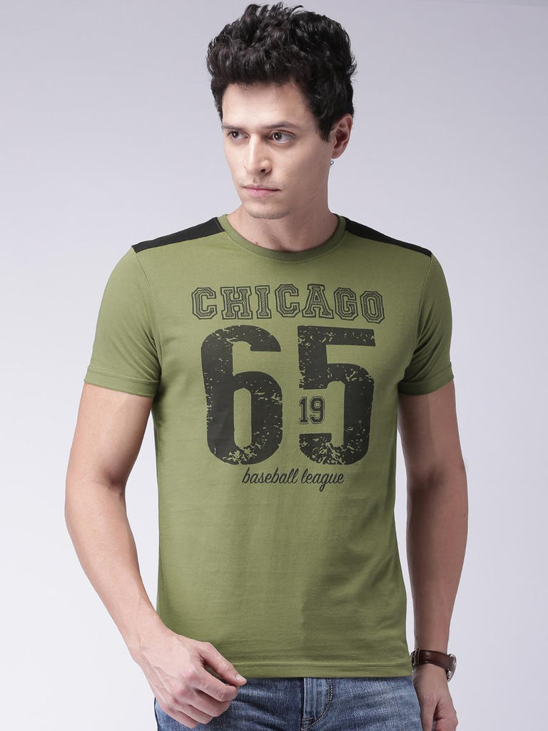 b00ce7a1d Moda Rapido Men Olive Green Printed Round Neck T-shirt – similar ...