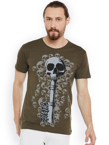 PUNK Men Olive Green Printed Round Neck T-shirt