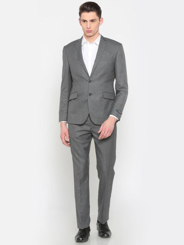 Peter England Men Grey Euro Slim Fit Single-Breasted Formal Suit