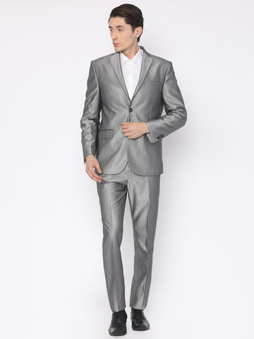 Van Heusen Men Grey Patterned Slim Fit Single-Breasted Party Suit