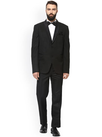 Hangup Men Black Single-Breasted Regular Fit Party Suit