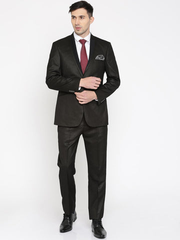 Peter England Brown Slim Fit Single-Breasted Party Suit