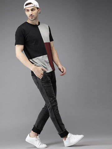 HERE&NOW Men Black & Grey Colourblocked Round Neck T-shirt