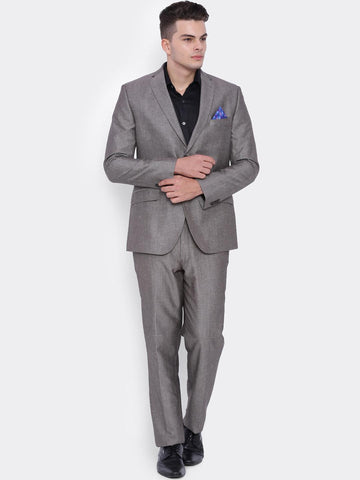 SUITLTD Men Grey Single-Breasted Linen Regular Fit Formal Suit