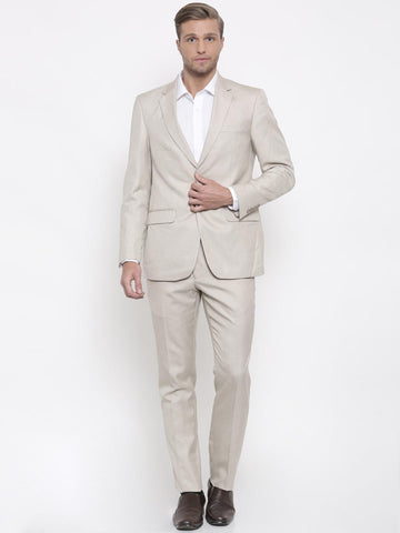 Peter England Beige Tailored Fit Single-Breasted Formal Suit