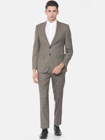 Raymond Brown Checked Contemporary Fit Single Breasted Formal Suit