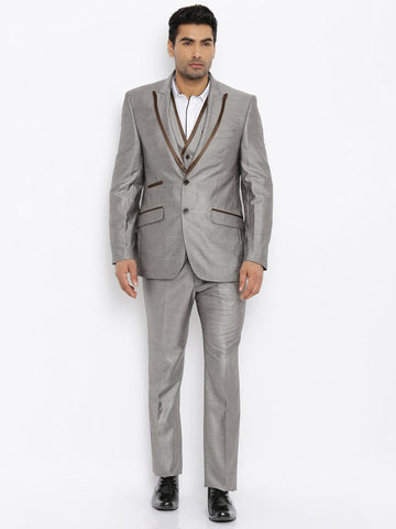 Raymond Men Grey Single-Breasted Tailored Contemporary Fit Party Suit